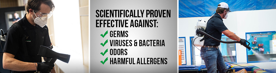 Scientifically proven effective against germs, viruses and bacteria, odors and harmful allergens