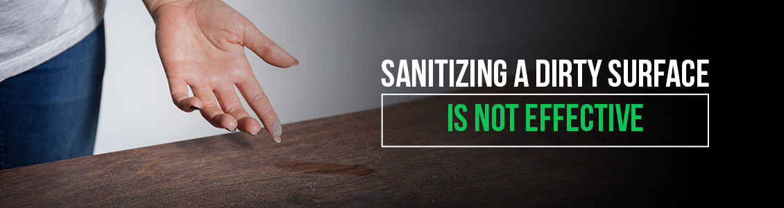 An Image of a Dirty Surface and Sanitizing a Dirty Surface Is Not Effective